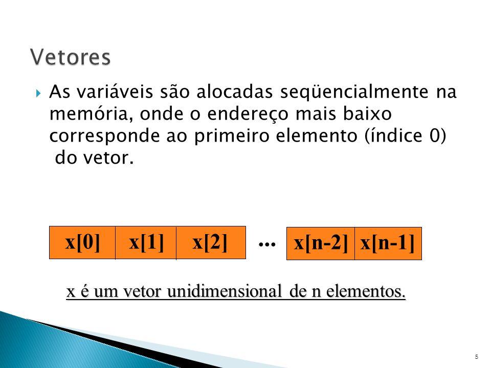 ... Vetores x[0] x[1] x[2] x[n-2] x[n-1]